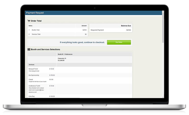 Orders Invoices For Exhibitor Purchases Map Dynamics Booth - Order invoices online